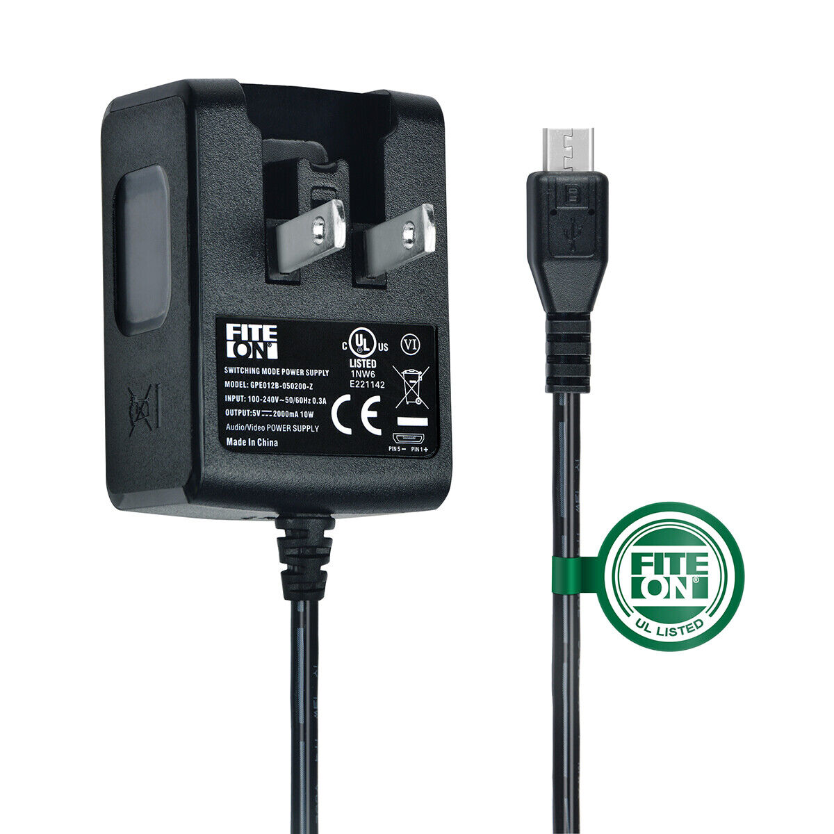 UL 5ft 5V 2A AC/DC Power Charger Adapter for ASUS Tablet Memo Pad HD 7 ME173/x