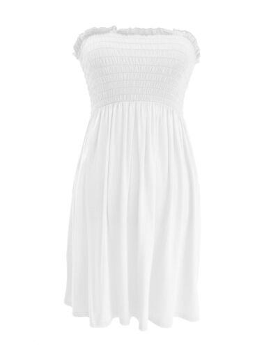 New Ladies Women Summer Boobtube Bandeau Short Strapless Sheering Dress Top