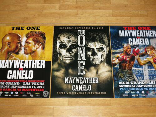 3 x FLOYD MAYWEATHER vs. CANELO ALVAREZ FIGHT ART POSTER SET LAS VEGAS 2013 MINT