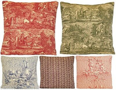 Vintage Cushion Cover Marvic Textile French Toile Red Green Cotton Printed