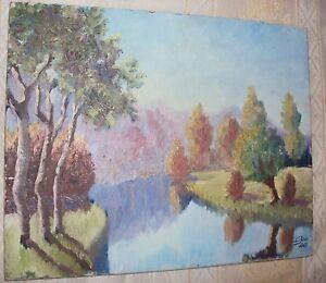 Ancienne Huile Sur Panneau / Paysage D'automne/ Signe Geo 46 / 26,5 X 33,5 Cm Aussi Efficacement Qu'Une FéE