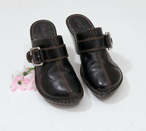 Born-Black-Leather-Platform-Clogs-Mules-US-9