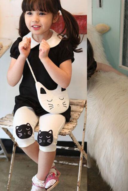 Fashion Kids Toddlers Girls Embroidery Cat Sweatshirts Dress + Leggings Set New