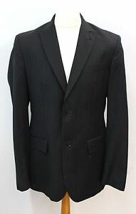 NEXT-Black-Wool-Men-039-s-Single-Breasted-Striped-Smart-Blazer-Suit-Jacket-UK-42