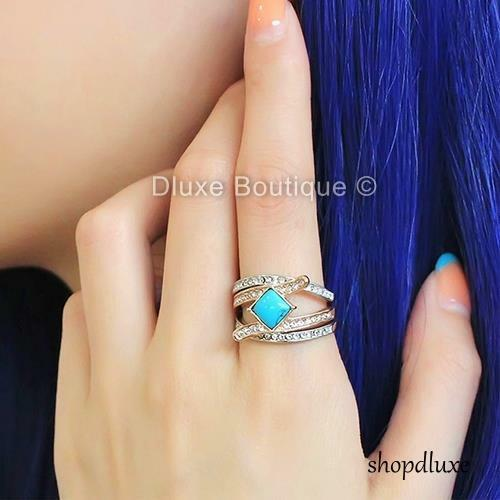 Stunning Turquoise CZ Stainless Steel 3 Piece Wedding Ring Set Women/'s Size 5-10