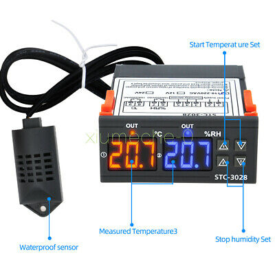 1X STC-3028 AC110-220V 10A Dual LED Temperature /& Humidity Controller Thermostat
