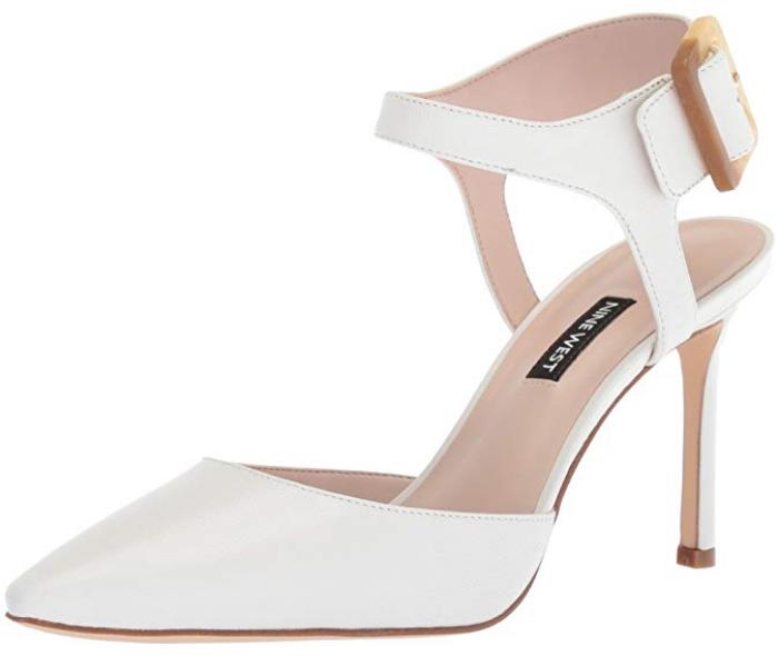 Nine West Elisabeti Leather Heeled Sandal, White,Size 7.5 M