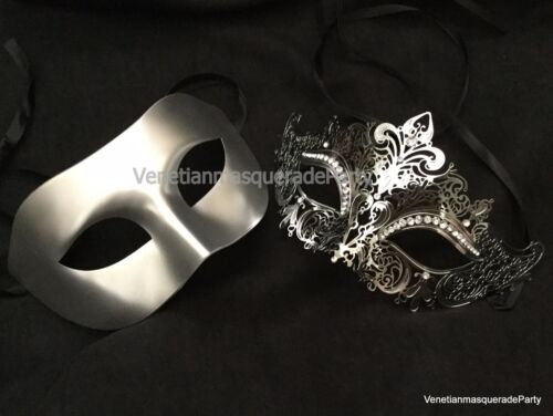 Couple Masquerade mask pair engagement wedding party Halloween costume prom