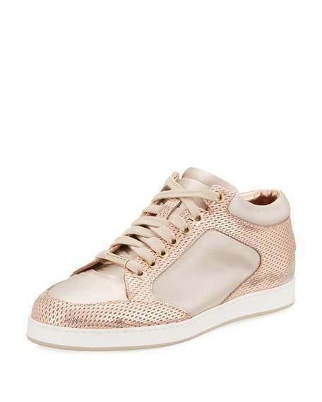 Jimmy Choo Miami Metallic Pink Leather Satin Sneakers Size 9 US   39 EU