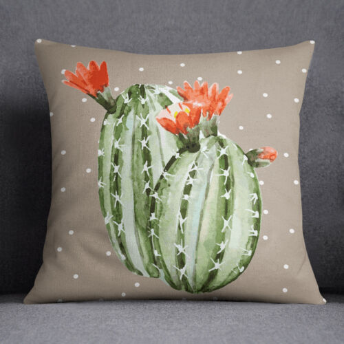 S4Sassy Cactus Print Square Brown Cushion Case Decorative Pillow Cover Throw