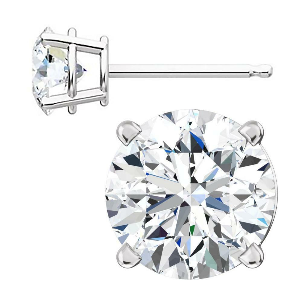 Hallie  6mm, 1.5ct Ice on Fire CZ 14K White gold Cast Stud Earrings
