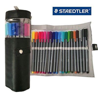 Staedtler Triplus Fineliner 334 PC20 Color Ink Pen 0.3mm Pencil Case Black