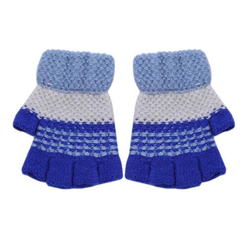 Kids Boys Girls Winter Warm Knitted Half Finger Gloves Mittens G