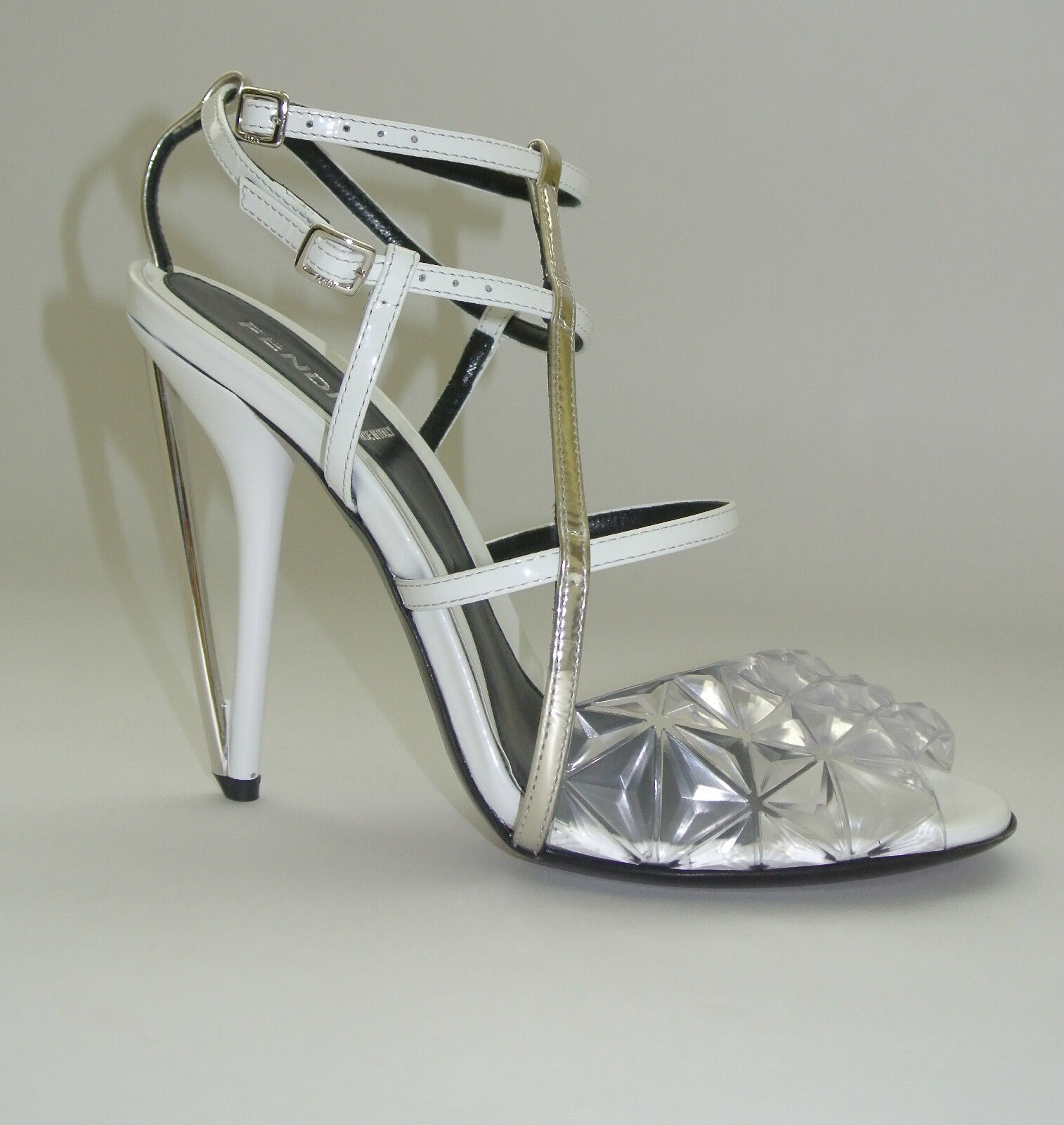 Fendi  White  Iridia Diamond  Sandals Size 38.5 New.
