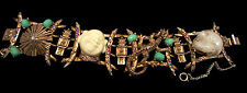 Rare Vtg Signed HAR Jeweled Buddha Coolie Asian Dragon Panel Bracelet A36