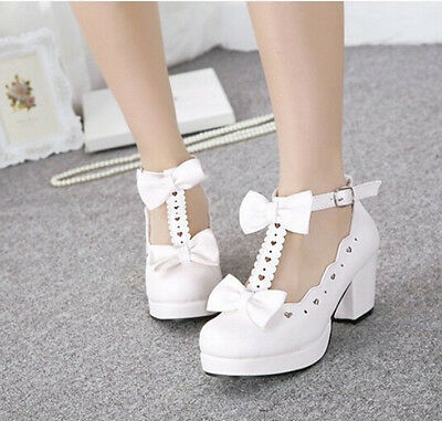 Sweet Womens Lolita Mary Janes Bowknot Strap Block High Heel Platform Shoes Uk