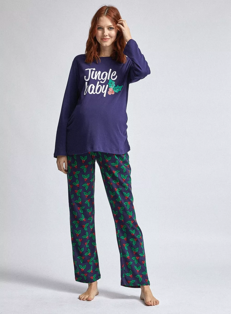 Bnwt Dorothy Perkins Grelot Bébé Noël Maternity Pyjamas Taille S