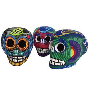 Teschio Messicano Ceramica Arte di Oaxaca Fatto a Mano Vari Colori alto 8 cm