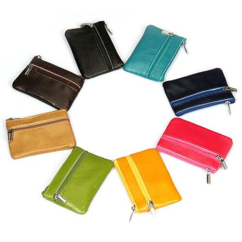 Durable Women  Genuine Leather Zip Coin Purse Mini Money Wallet Key Pouch