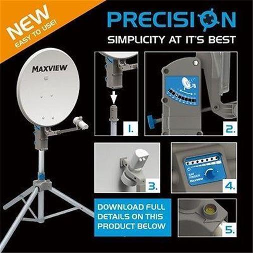 Maxview Precision 55cm Caravan Satellite Dish Twin LNB, Tripod, Carry Case