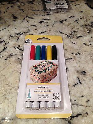 NEW! Ek Tools Paint  Markers 5 pc For Plastic Ceramics, Glass, Metals