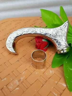 ONLY HANDLE silver Vintage Walking Cane Stick Handle Brass Design Handmade