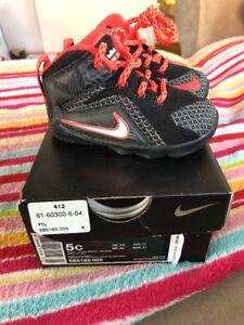 0f6f98a02b3 Nike Lebron XII TD Shoes 685185 005 Size 5 5C Black Orange White ...