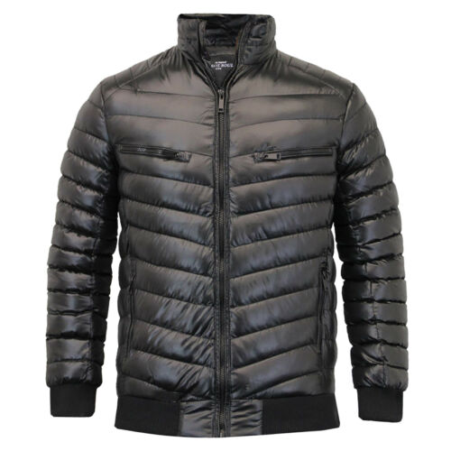 Mens Brave Soul Plain Padded Winter Puffer Jacket In Black AW18 Sizes S-XL