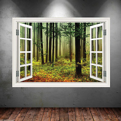 Woods in Window Frame Full Colour wall art sticker decal transfer mural Graphic