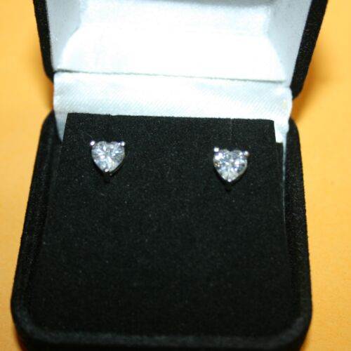 Heart Shaped Diamond Alternatives Prong Stud Earrings 14k White Gold over 925 SS