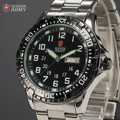 SHARK Army Mens Date Day Military Black Sport Quartz Wrist Watch + Gift Box