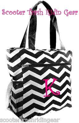 Personalized Black White Chevron ZigZag Tote bag book sport beach diaper gym NEW