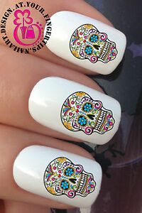 NAIL-ART-WRAPS-WATER-TRANSFERS-STICKERS-DECALS-SUGAR-SKULL-DAY-OF-THE-DEAD-649