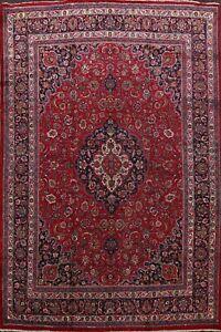 Vintage-Red-Kashmar-Hand-Knotted-Area-Rug-Traditional-Living-Room-Carpet-10x13