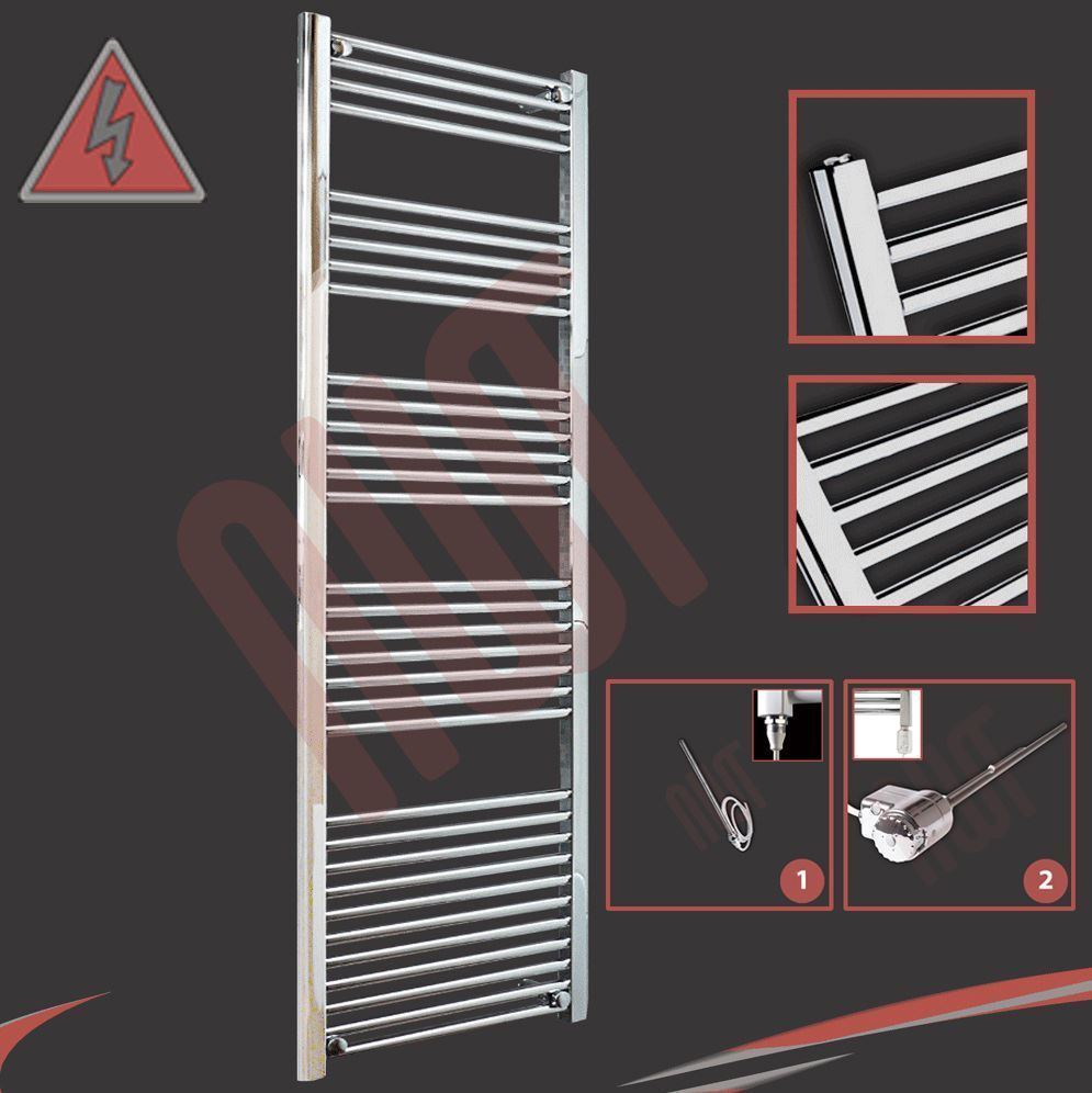 600mm(w) x 1800mm(h) Pre-Filled Electric Straight Chrome Towel Rail - 600W