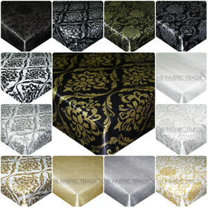 Image Is Loading DAMASK WIPE CLEAN PVC VINYL TABLECLOTH KITCHEN OILCLOTH