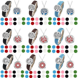 Aromatherapy-Essential-Oil-Diffuser-Necklace-Leather-Bracelet-Necklace-Pendant