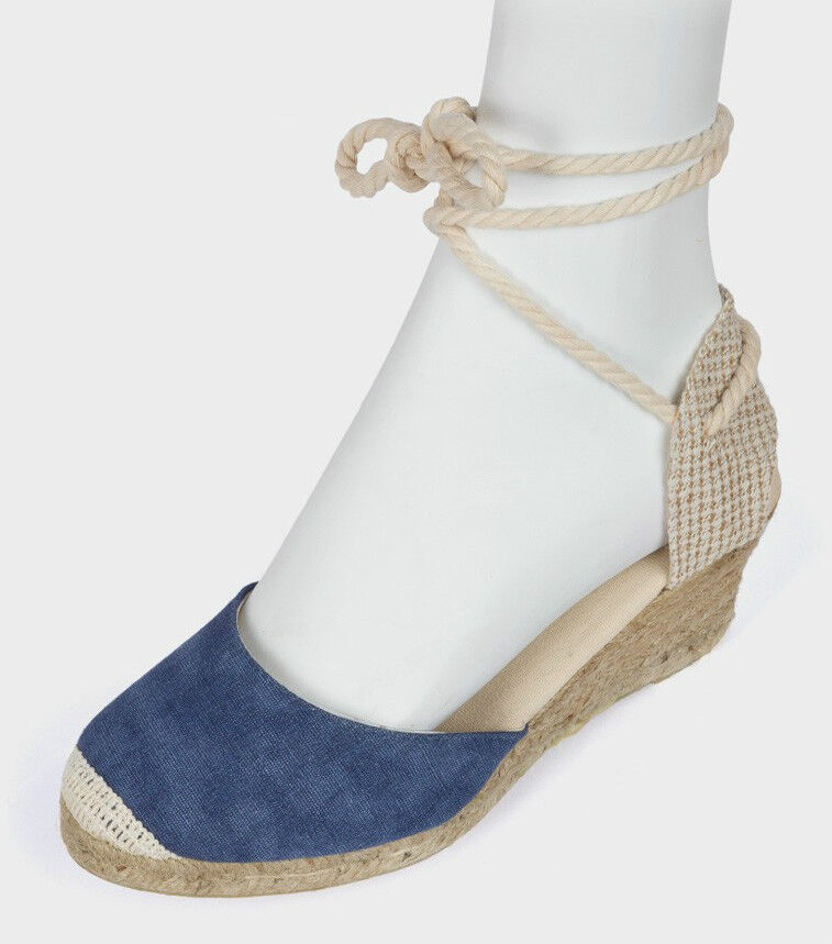 Ladies Blue Fabric Ankle Tie Up Wedge Espadrilles Summer Sandals UK Sizes 3-8