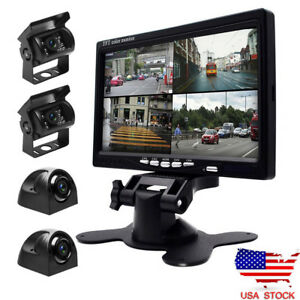 7-034-Monitor-Car-Truck-Bus-DVR-Split-Quad-4PCS-Side-Rear-View-Camera-System-UPS