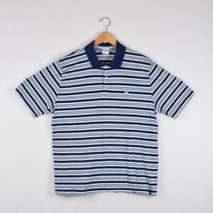 Men-039-s-Brooks-Brothers-Short-Sleeve-Polo-Shirt-Navy-Blue-White-Stripes-Size-XL