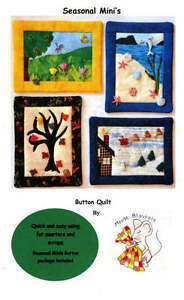 SEASONAL MINI'S QUILTING PATTERN KIT, Includes Buttons Pack By Mouse Blankets