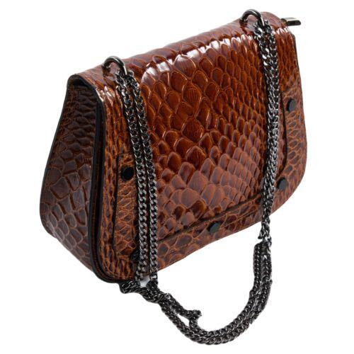 Echt Cognac Clutch Braun Leder Krokooptik Flap Pochette Abendtasche 504 Ital Bag UOYCqqw
