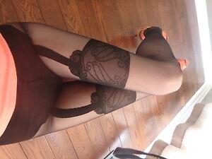 Cornelia Fiore 40 den pantyhose SMALL size BLACK lace suspender tights