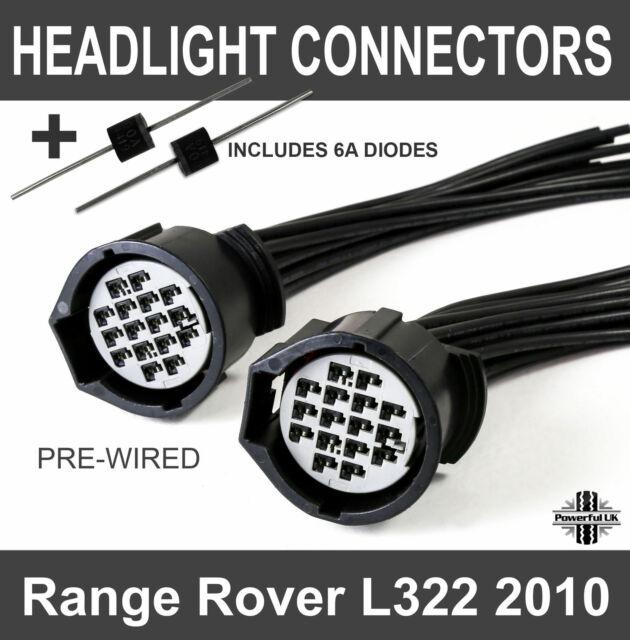 Range Rover L322 2010 headlight connectors headlamp X 2 conversion on