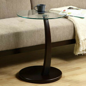 Image Is Loading Pull Up Drink Table Round Glass TV Snack