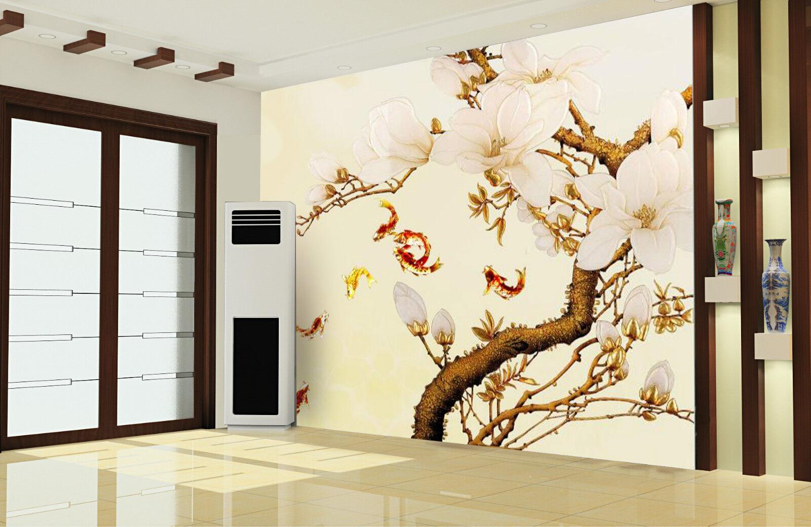 3D Fleur Poisson 4  Photo Papier Peint en Autocollant Murale Plafond Chambre Art