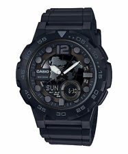 Casio AEQ100W-1BV, Digital/Analog Combo, 3 Alarms, 30 Telememo, Resin