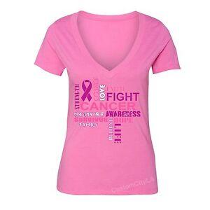 Fight-Breast-Cancer-awareness-PINK-Ribbon-survivor-support-Women-Vneck-T-shirt