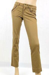 differently b8e7a dcc69 Dettagli su Nuovo Originale Gucci Donna Pinocchietto Jeans Pantaloni con /  pelle Lacci ,