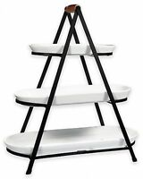 Home Kitchen Contemporary Tray 3 Tier Oblong Ceramic Server With Iron Stand